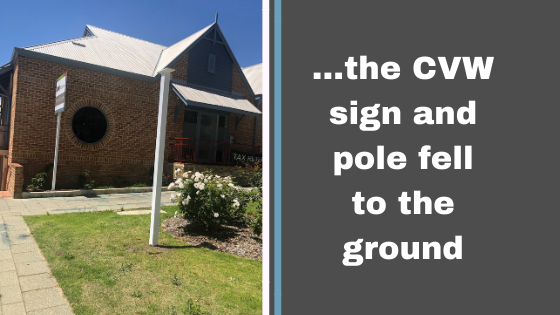 the CVW Accounting sign and pole both fell to the ground